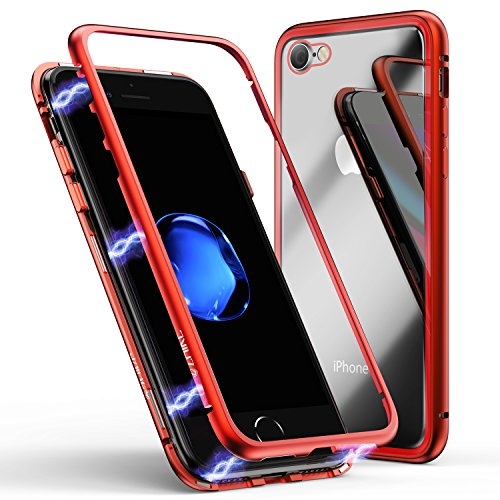 iPhone 8 Case,iPhone 7 Case, ZHIKE Magnetic Adsorption Case Ultra Slim Metal Frame Tempered Glass Back with Built-in Magnet Flip Cover for Apple iPhone 7/8 (Clear Red)