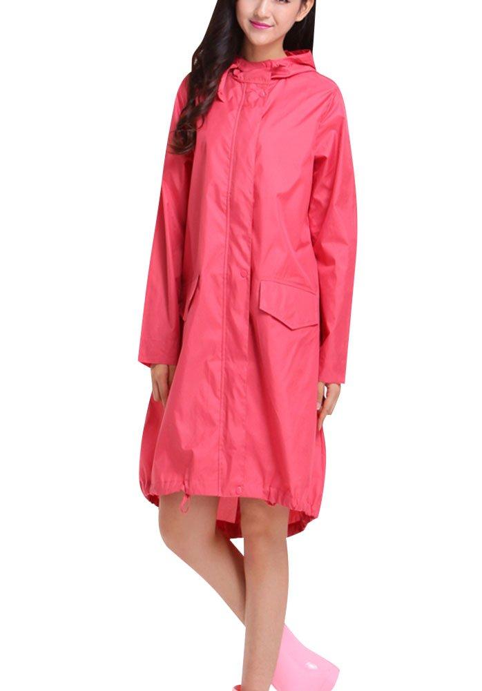 LaoZan Mujer Raincoats De Ripstop Poncho De Lluvia Impermeable Con Capucha Chupasquero Pink