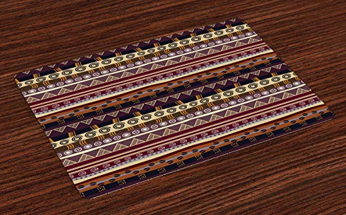 Ambesonne Tribal Place Mats Set of 4, Striped Pattern with Abstract Geometric Details Indigenous Artwork, Washable Fabric Placemats for Dining Table, Standard Size, Brown Black
