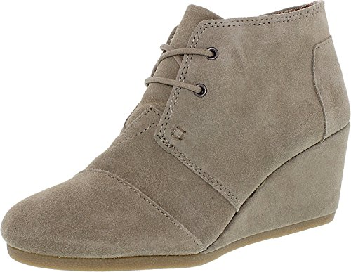 TOMS Womens Desert Wedge Boot Taupe Suede Size 9