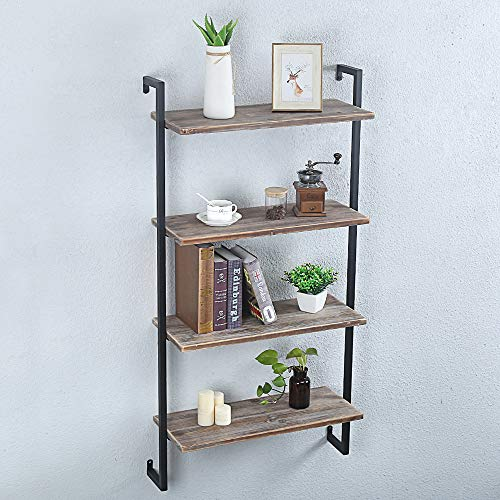 GWH Industrial Metal and Wood Wall Shelf Unit,Rustic Floating Wood Shelves Wall Mounted,24in Iron Real Reclaimed Wood… 6