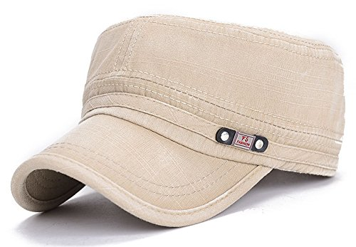 ChezAbbey Unisex Fitted Flat Top Cap Solid Brim Army Cadet Style Military Hat with Adjustable Strap ()