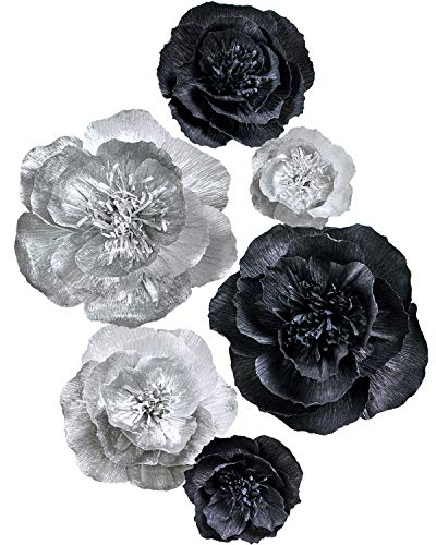 Letjolt Black Paper Flower Decorations for Xmas Party Backdrop New Year Decor Wedding Ornaments Baby Shower Bridal Shower Nursery Wall(Silver Black Set 6) (Art Metal Flowers Silver Wall)