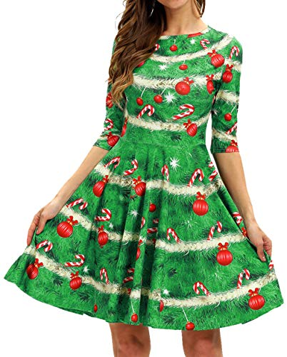 GLUDEAR Christmas Dress, Womens Xmas Tree Printed Gifts A-Line Party Cocktail Dress,Ugly Christmas -
