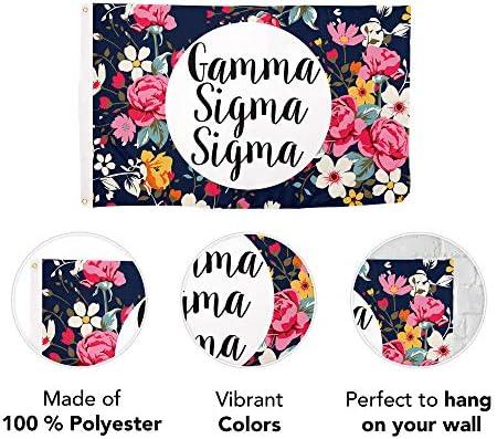 Flag - Floral Gamma Sigma Sigma Greek Banner 3 x 5 feet GSS