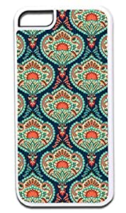 01-Ornate Paisley Case for the APPLE IPHONE 5 ONLY!!! NOT COMPATIBLE WITH THE IPHONE 5s for you!!!-Hard White Plastic Outer Case with Tough Black Rubber Lining