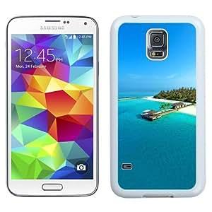 NEW Unique Custom Designed Samsung Galaxy S5 I9600 G900a G900v G900p G900t G900w Phone Case With Maldives Resort Light Blue Sea Island_White Phone Case