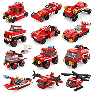 FUN LITTLE TOYS 222Pcs Fire Rescue Vehicles Building Blocks Set in 12 Different Models Including Fire Boat,Helicopters and Fire Truck for Kids Party Favors