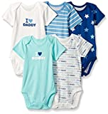 The Children's Place Baby-Boys Li'l Guy's Printed Bodysuits (Pack of 5), Family (Mellow Aqua), 12-18 months