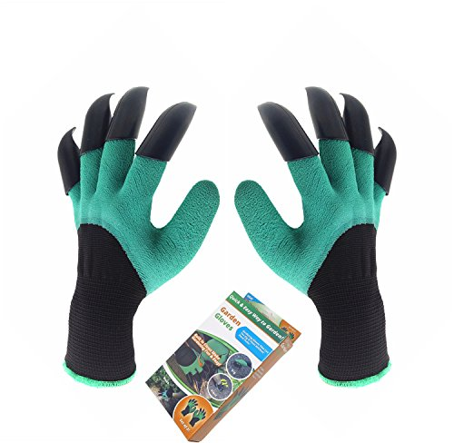 Garden Genie Gloves, Inf-way Both Hand Claws Gardening Gloves, Quick & Easy to Dig & Plant, Safe for Rose Pruning - As Seen On TV (Right + Left Claw 1 pair) ()