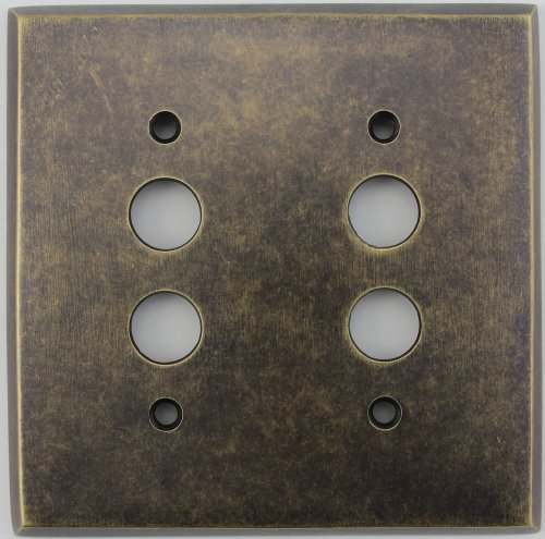 Classic Accents Aged Antique Brass 2 Gang Push Button Switch Wall Plate