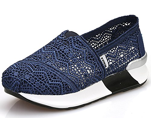 DADAWEN Women's Mesh Platform Walking Shoes Lightweight Slip-on Fitness Work Out Sneaker Shoes Dark Blue US Size 5.5/Asia Size 35