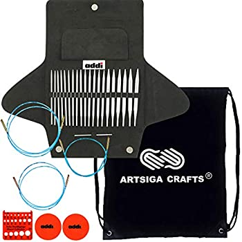 Image of addi Knitting Needles Click Basic Interchangeable Circular System White-Bronze Finish Skacel Exclusive Blue Cords Bundle with 1 Artsiga Crafts Project Bag Knitting Needles