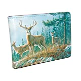 Buxton Wildlife Autumn Whitetail Deer Front Pocket Slimfold Wallet (Brown)
