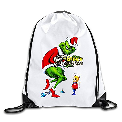 How The Grinch Stole Christmas Lightweight 100% Polyester Drawstring Travel Daypack White One Size (Life Size Grinch)