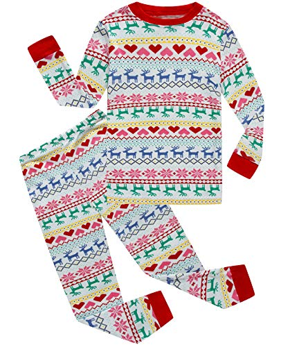 Boys and Girls Christmas Pajamas Cotton Reindeer Toddler Clothes Kids Pjs Sleepwear Size 12T]()