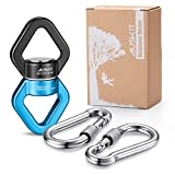 AusKit Swing Swivel, 30 KN Pulley, Safest Rotational Device Hanging Accessory with Carabiners (Black/Blue)