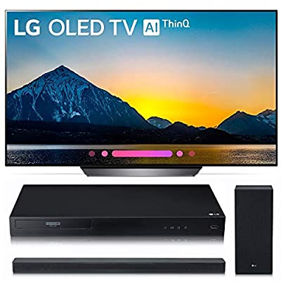 LG Electronics OLED55B8PUA 55-Inch 4K Ultra HD Smart OLED TV (2018 Model) Bundle with LG UBK80 4K and LG SK6Y 2.1