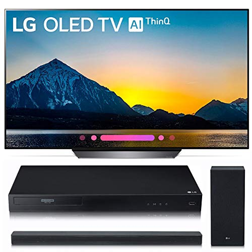 LG Electronics OLED65B8PUA 65-Inch 4K Ultra HD Smart OLED TV (2018 Model) Bundle with LG UBK80 4K and LG SK6Y 2.1