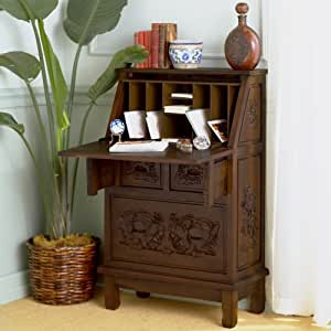 """Cynthia 26"""" W Hand-Carved Drop-Front Secretary"""