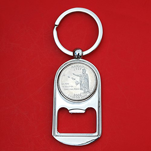 (US 2008 Hawaii State Quarter BU Uncirculated Coin Silver Tone Key Chain Ring Bottle Opener NEW)