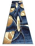 Modern Area Rug Runner Design #457 Blue (32 Inch X 10 Feet) For Sale