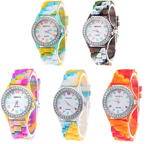 CdyBox Wholesale Watch 5 Pack Rhinestone Colorful Silicone Jelly Wristwatches for Women Girls Gift Set