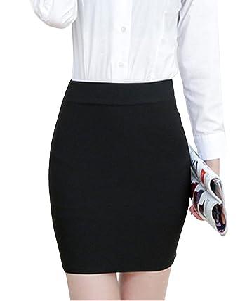 77b41d6882 Mujeres Elástico De Cintura Alta Falda Corta Tallas Grandes Faldas  Ajustadas  Amazon.es  Ropa y accesorios