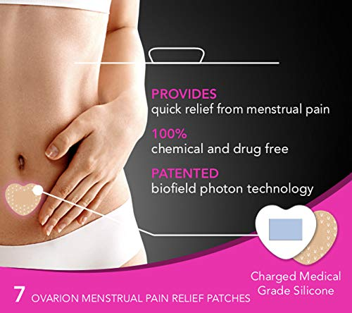 OVARION Menstrual Pain Relief Patches, PMS Relief Patches Provide Quick Relief from Menstrual Pain, 100% Chemical and Drug Free, Patented Biofield Photon Technology, 7 Ovarion Patches.