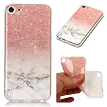 iPod Touch 5 Case,Touch 6 Case,Gift_Source [Ultra Thin] Flexible Soft Gel TPU Rubber Case Skin Unique Marble Design Clear Bumper Protective Cover for iPod touch 5/Touch 6 [Pink White]