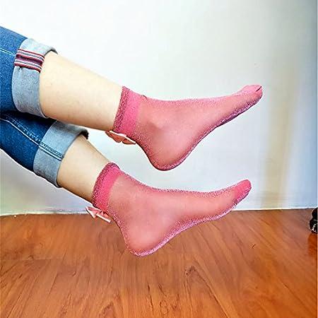 Smartrich 1coppia brillante seta Crystal Thin Bowknot calzini corti donne caviglia calzini morbidi Heap blu Blue 1*1*1cm