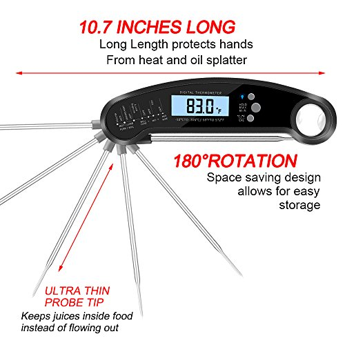Smileto Instant Read Waterproof Digital Thermometer With LCD Calibration & Backlight Function For Kitchen Use, BBQ, Baby Food by Smileto (Image #3)
