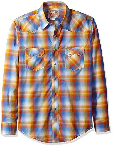[Wrangler Men's Western Plaid Snap Woven Shirt, Teal/Orange, M] (Orange Plaid Western Shirt)