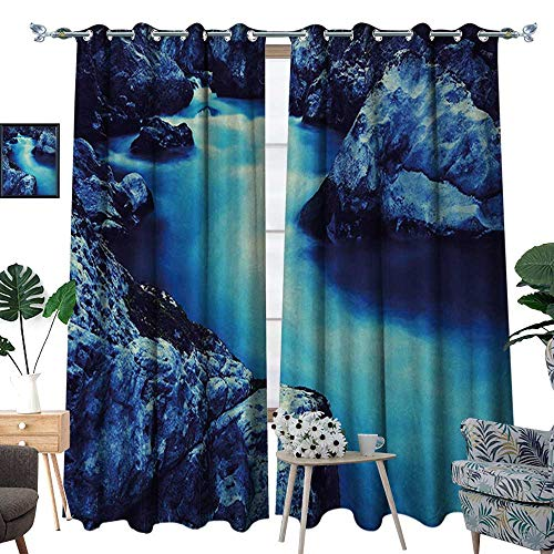 RenteriaDecor Waterfall Thermal Insulating Blackout Curtain Frozen Dangerous Lake with Atmosphere of a Cave and Snow on The Rocks Nature Patterned Drape for Glass Door W72 x L108 Blue and ()