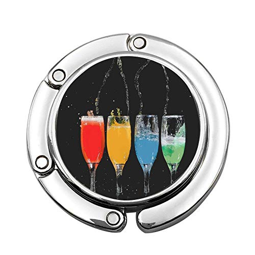 Color Flutes Custom (MichelleSmithred Four Champagne Flutes With Assorted-color Liquids Custom Print Handbag Hanger Foldable Table Purse Hook Caddy Holder)