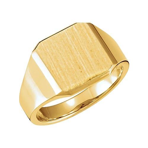 JewelryWeb - Anillo de Oro Amarillo de 14 Quilates para Hombre Pulido de 14 mm con Sujetador, tamaño V 1/2: Amazon.es: Joyería