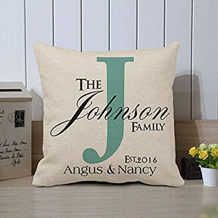 Amazon.com  Personalized Family Name Pillow Covers Custom Pillows ... 0f3fd013a4