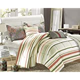 Chic Home Antica 6-Piece Luxury Reversible Comforter Set with Quilt, Shams and Decorative Pillows, Queen Size, Printed