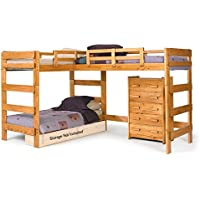 Chelsea Home Furniture 3662008 L Shaped Loft Bed, 68'H, Honey