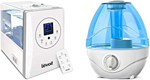 LEVOIT Humidifiers for Large Room Bedroom (6L), Warm and Cool Mist Ultrasonic Air Humidifier for Home & Humidifiers for Bedroom, Ultrasonic Cool Mist Air Vaporizer for Babies (BPA Free), 2.4L, Blue