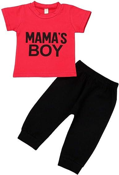 Subfamily Conjuntos Bebé Niño Camiseta de Manga Corta roja con Botones para Hombres + Conjunto de Pantalones Negros para niños MAMASBOY 3 Meses a 4 años: Amazon.es: Ropa y accesorios