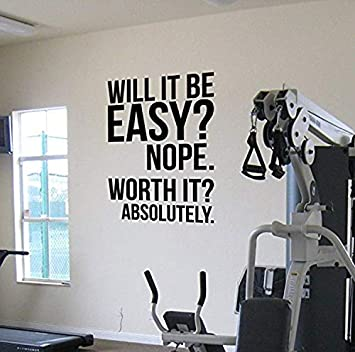 Worth It? Gym Wall Vinyl Decal - Motivational Quote Fitness Weight ...