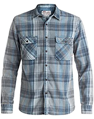 Men's Happy Flannel Long Sleeve Shirt and HDO Travel Sunscreen (15 SPF) Spray Bundle