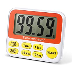 Digital Countdown Kitchen Timer - AIMILAR Count Down Timer Clock With Alarm Large Screen Fast Setting (Yellow)