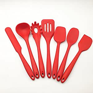7-Piece Kitchen Utensils Set Anti-Bacterial Silicone Cooking Set Non-Stick Heat Resistant Durable Lightweight Solid Steel Core in Attractive Bordeaux Color