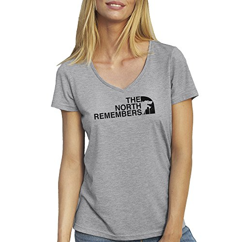 The North Remembers Game Of Thrones T-Shirt camiseta Cuello V para la Mujer Gris