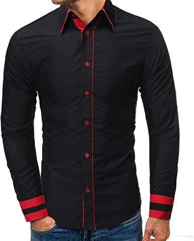Heetey - Camisa para Hombre, de Manga Larga, con Costuras de ...