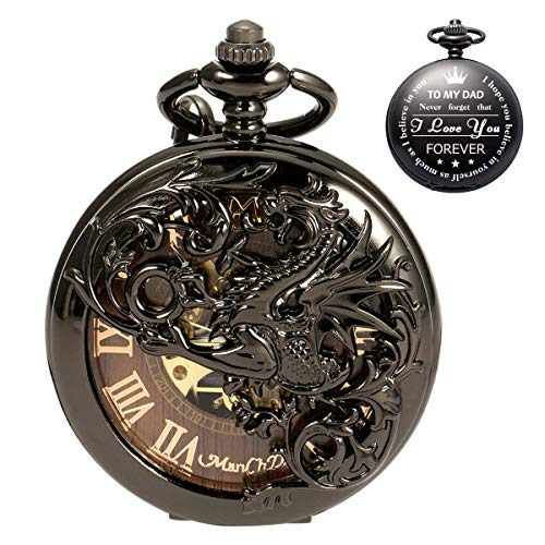 - ManChDa Mens Engraved Personalized Gift for Dad Father Daddy Skeleton Mechanical Engraved Pocket Watch Engraving Custom Customization Black Dragon Hollow Double Hunter Burlywood Dial with 2 Chains