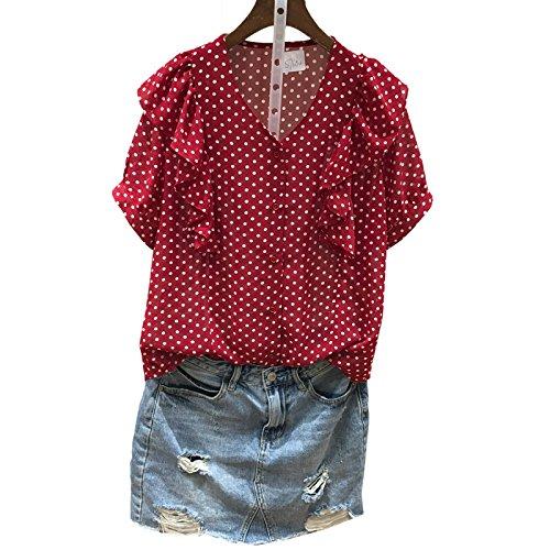 Xmy point rouge tissé de neige à manches courtes ladies' lady lace frapper la poupée shirt T-shirt code sont