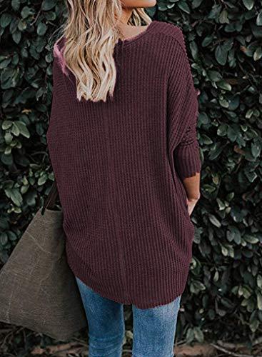 Jumper Neck Casual Aranmei Lunghe Maglioni V Maniche Rosso1 Eleganti Baggy Cardigan Pullover Donna wf8c4fZq
